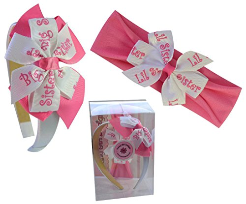 Big Sister & Little Sister Matching Headband Gift Box (Big Sister Ribbon)
