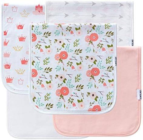 5-Pack Baby Burp Cloths for Girls, Burping Rags for Newborns, Baby Shower Gift...
