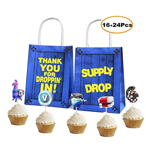 - 16Pcs Party Gift Bags+24 Cupcake Toppers Favor Kids Birthday Gaming Bag Fortnight Game Theme Pack Supplies
