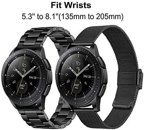 Band Sets for Samsung Galaxy Watch 42mm / Active 2 40mm 44mm, TRUMiRR 20mm 2 Pack Solid Stainless Steel Watchband + Mesh Woven Strap Quick Release Wristband for Garmin Vivoactive 3 Ticwatch E 51ajojlcsCL