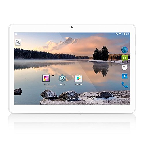 YUNTAB 10.1 inch Unlocked 3G Tablet Smartphone, Android OS, Support Dual SIM Cards, Quad Core Processor, 16GB Storage, IPS Touch Screen(Silver)