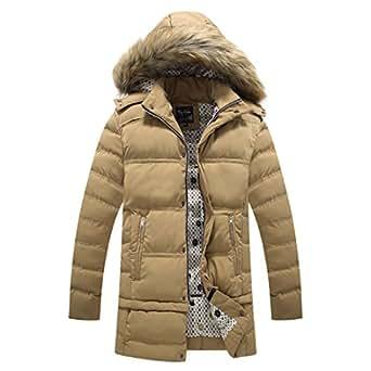 ZongCO Mens Fur Hooded Thick Winter Coat Outwear khaki 4X