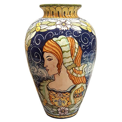 Painted Pottery Vase - CERAMICHE D'ARTE PARRINI - Italian Ceramic Vase Art Pottery Painted Design Deruta Made in ITALY Tuscan