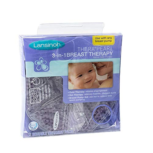 Large Product Image of Lansinoh TheraPearl 3-in-1 Breast Therapy Pack, Hot or Cold use for Nursing Mothers to decrease Engorgement, encourage Let-Down and increase Milk Production, use with any Breastpump, 2 Count, 2 Covers