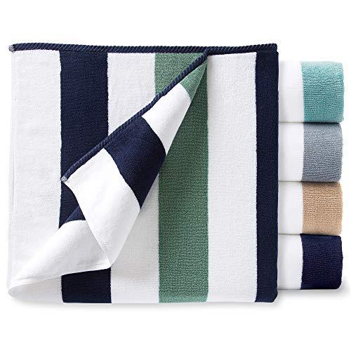 Oversize Plush Cabana Towel by Laguna Beach Textile Co   Navy and Seafoam Green  1 Classic, Beach and Pool House Towel (Beach Towel Soft)
