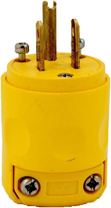 Leviton 515PV 15 Amp, 125 Volt, Grounding Plug, Yellow - Plug Adapters -