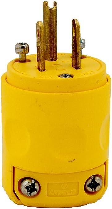 Leviton 515PV 15Amp 125V PVC Grounding Plug Yellow