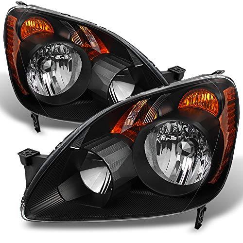For Honda CRV UK Built Models Black Headlights Driver Left + Passenger Right Side Replacement Pair Set