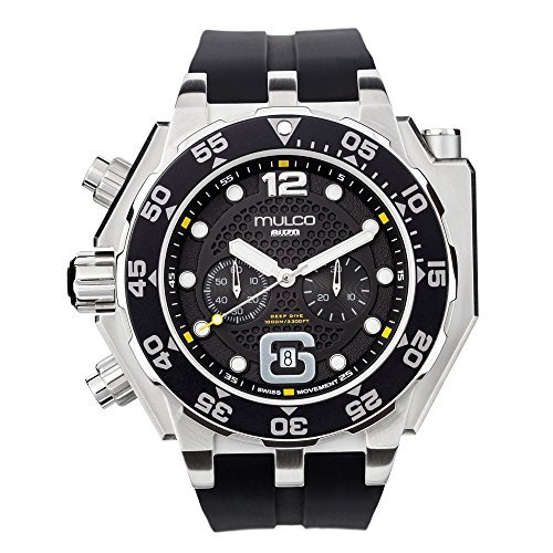 Mulco Buzo Helio Quartz Swiss Chronograph Movement Men's Watch | Premium Analog Display with Steel Accents | Black Watch Band | Water Resistant Stainless Steel Watch | Black Ion-Plated (Black Ion Stainless Steel Watch)
