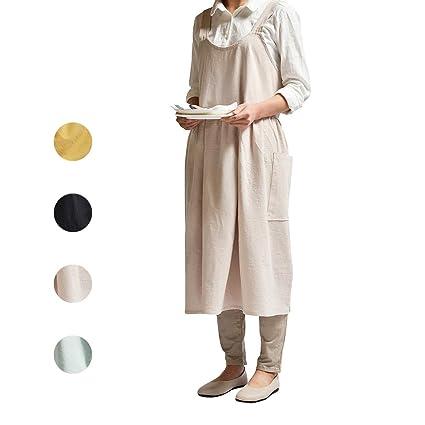 5960228220864 NOOS Soft Cotton Linen Apron Beige Pinafore Dress, Halter Cross Bandage  Aprons Cooking, Fashion Coffee Shop Waist Kitchen Aprons & Women Apron for  ...