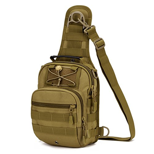 X-Freedom Military Tactical Sling Daypack Chest Travel Shoulder Bag For Hunting, Camping, Dark Brown by X-Freedom