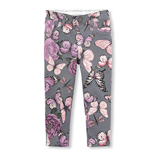The Children's Place Girls' Toddler French Terry Jeggings, Chalkboard 3T