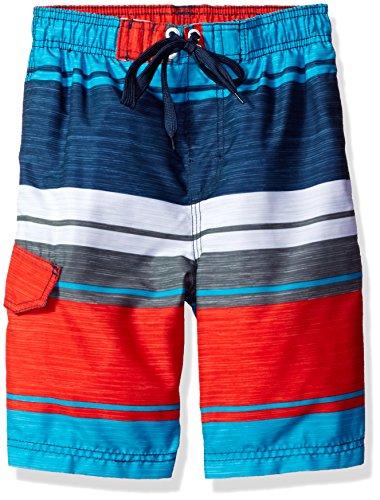 Kanu Surf Little Boys' Impact Quick Dry Beach Swim Trunk, Navy/Red, Medium (5/6)