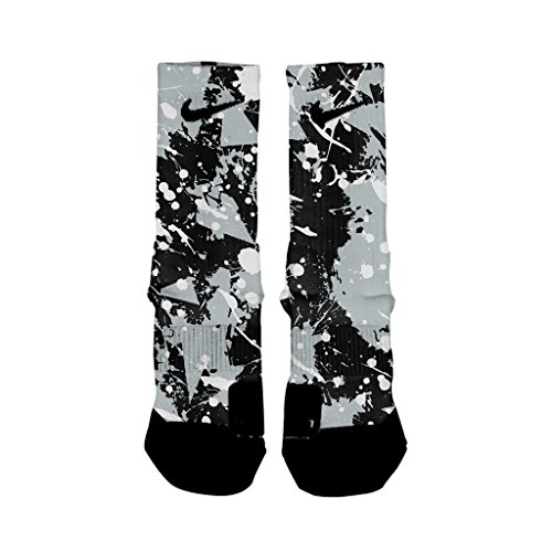 HoopSwagg Spurs Splatter Custom Elite Socks Large