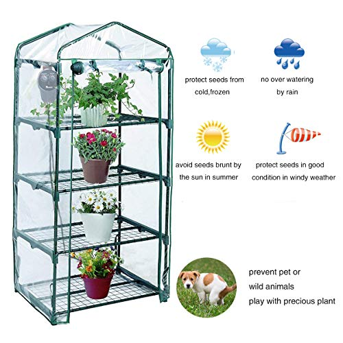 Yardeen 4 Tier Mini Greenhouse Rack Stands Portable Garden for Outdoor & Indoor by Yardeen (Image #1)