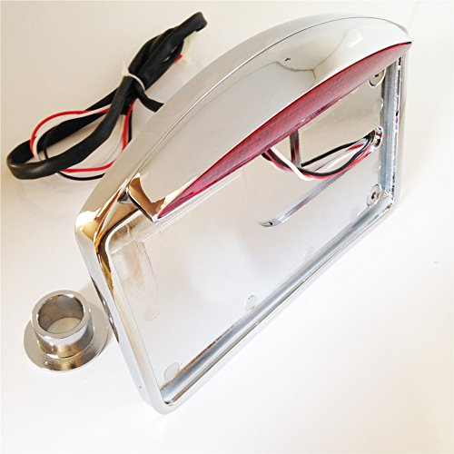 HTT Motorcycle Chrome Side Mounted Flat License Plate Bracket w/ Led Tail Light Brake Light 1