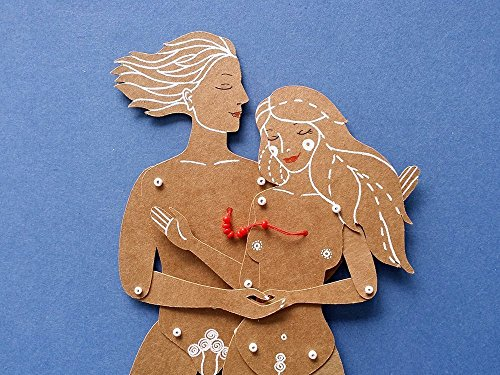 Lovers articulated paper dolls, hand painted couple paper puppets with movable parts, Valentine's and 1st anniversary gift by Mooncoocoo - Paper Dolls by Maria Dubrovskaya