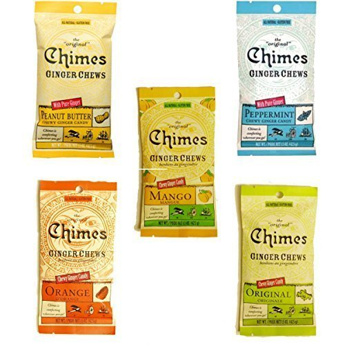 Peppermint Ginger Chews - Chimes' Ginger Chews - 5 Pack - All Flavors! (Original, Mango, Orange, Peanut Butter, and Peppermint)