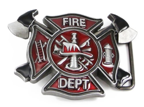 Firefighter Belt Buckle (Fire Dept Maltese Cross Belt Buckle)