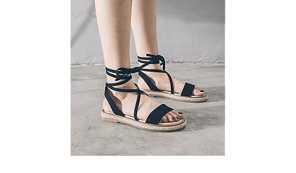 0215640f2 Amazon.com   SDKIR-Rome Female Summer sandals college flat bottom wild  black straw sandals Retro cross strap with sandals 37 low black   Sports    Outdoors
