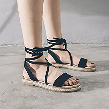 5ec07b235 Image Unavailable. Image not available for. Color  SDKIR-Rome Female Summer  sandals college flat bottom ...