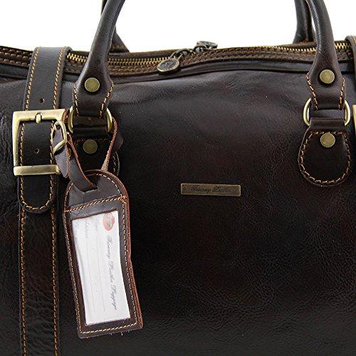Tuscany Leather - Berlin - Sac de voyage en cuir avec boucles - Grand modèle - Marron foncé- Homme