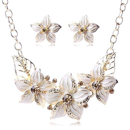 Mandystore Women's Flower Necklace Statement Elegant Vintage Earrings Jewelry Set (White)