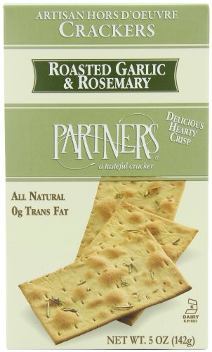 Crackers Olive Oil - Partners Roasted Garlic & Rosemary Hors D'oeuvre Crackers, 5-Ounce Boxes (Pack of 6)