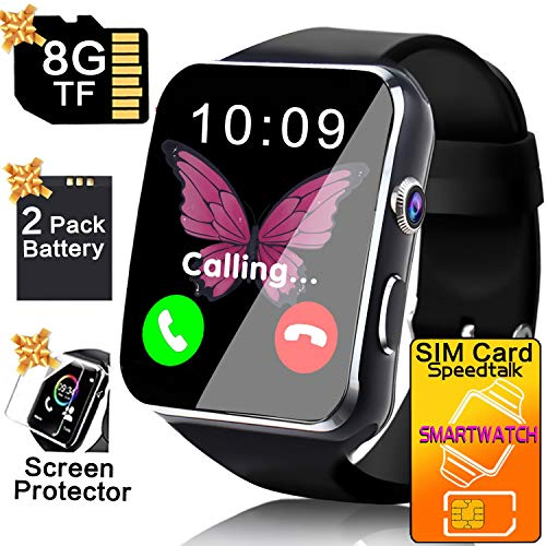 (Business Smart Watch Phone - [Free SIM Card + 8GB TF ] Touchscreen Unlocked Smartwatch for Men Women Cell Phone Watch with Sync Function Music Player Camera Smartphone)