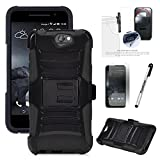 HTC ONE A9 CASE, Phonelicious HTC ONE A9 Xtreme Heavy Duty Hybrid Armor Dual Layer Kickstand Belt Holster Clip Combo Rugged Tuff+ Screen Protector & Stylus (BLACK)