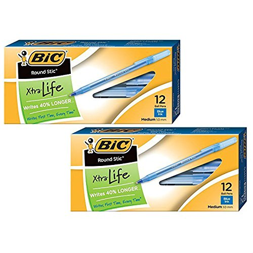 Pen Blue Bic (BIC Round Stic Xtra Life Ball Pen, Medium Point (1.0 mm), Blue, 24-Count)