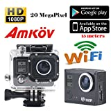 Amkov Sj5000 Wifi 20mp 1080p Lcd Display 170°a+ Hd Wide-angle X4 Zoom Mini Size Portable Micro USB Support 32g Tf Card with 1150mah Rechargeable Battery Underwater 30m Include Various Accessories Full Hd Head Sports Outdoor Car Recorder Car Recorder DVR Cam Action Camera Sports Camera Helmet Cam (Black) Action Cameras DBPOWER