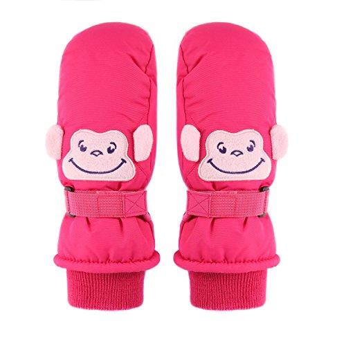 Ski Mittens, Yidomto Waterproof Warmest Winter Snow Gloves for Mens, Womens, Boys, Girls, Kids (XS, Kids-Mittens-Pink)