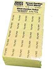 Chinese Auction Tickets -- 250 Sheets Yellow -- Raffle Fundraiser -- Penny Auction -- Tricky Tray -- Silent Auction Tickets