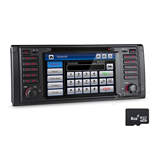 XTRONS 7 Inch HD Digital Touch Screen Car Stereo Radio In-Dash DVD Player with GPS CANbus for BMW 5 Series X5 Navigation Map Card Included by XTRONS