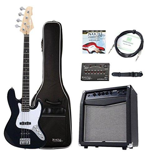 Rocktile Fatboy II E-Bass Starter Bundle Komplettset 7-teilig: Bass / Bass Gitarre, Verstärker / Basscombo, Gig Bag / Tasche, Stimmgerät, Gurt, Kabel, Saiten