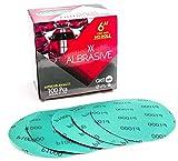 ALbrasives Velcro Hook Loop Sanding Discs 6 Inch No Holes, 100 Pack, Made of Aluminum Oxide, Green Film (P1000 Grit)