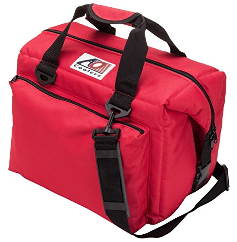 AO Coolers Deluxe Canvas Soft Cooler with High-Density Insulation, Red, 12-Can