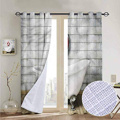 NUOMANAN Blackout Lined Curtains Vintage,Grunge Wall Sailor Bath,Thermal Insulated,Grommet Curtain Panel 1 Pair 52