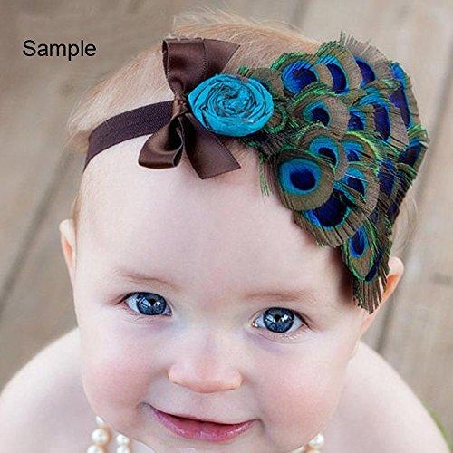 PandaHall mignon élastique Baby Girl Bandeaux, teints plume de paon Bandeaux, avec un chiffon de fleurs, coloré, 110mm