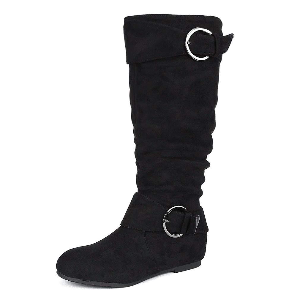 DREAM PAIRS Womens Knee High Wedge Heel Boots