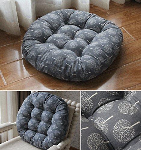 TMJJ Cotton & Linen Round Floor Pillow Cushion Japanese Style Futon Seat Cushion Thicken Chair Wave Window Pad 21'' x 21'',Set of 2 (Dark Happy Tree) by TMJJ Home (Image #3)