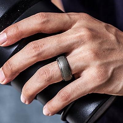 Black, Dark Grey, Silver, Brass, 10.5-11 20.6mm 4 Rings ThunderFit Silicone Wedding Rings for Men