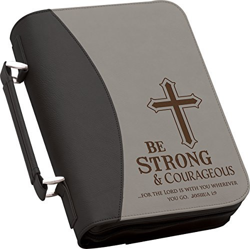 Be Strong and Courageous Large 11 x 8 Black and Grey Faux Leather Cover Case