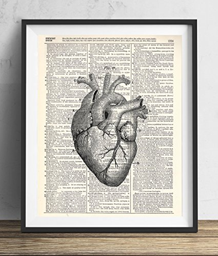 Heart Art (Anatomical Heart Vintage Upcycled Dictionary Art Print 8x10)