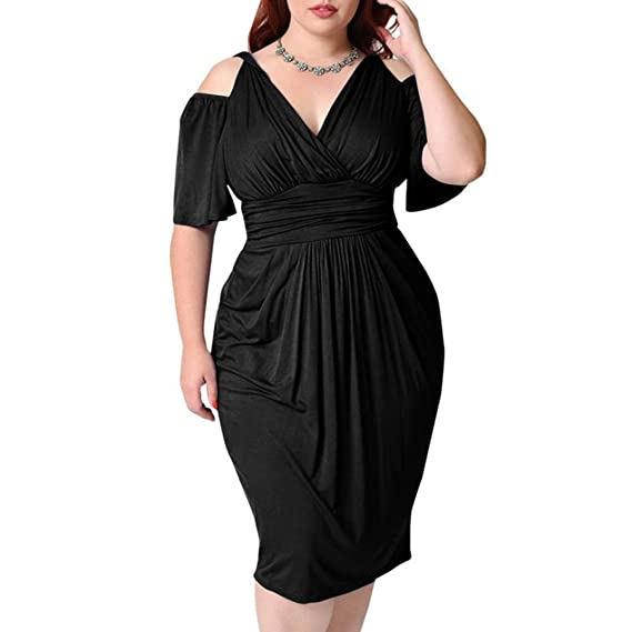 232e1b47d0 Amazon.com  Goddessvan Women s Plus Size Dresses-Summer V-Neck Solid Loose  Casual Cold Shoulder Wrap Dress  Clothing