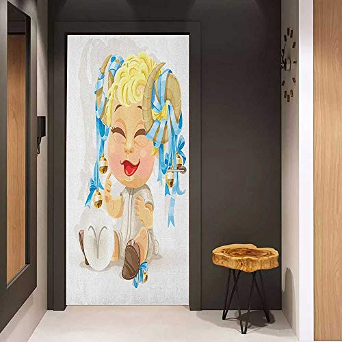 Onefzc Front Door Sticker Zodiac Aries Happy Smiling Baby with Bells Tied up to His Horns Birth and Future Theme for Home Decor W17.1 x H78.7 Multicolor (The Diving Bell And The Butterfly Themes)