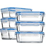 ziplock 1 2 cup containers - FineDine Superior Borosilicate Glass Meal Prep Food Storage Containers (6 Pack, 28 oz.) BPA Free Airtight Snap Locking Lid - Freezer, Microwave, Oven Safe, Portion Control Containers for Home and Work