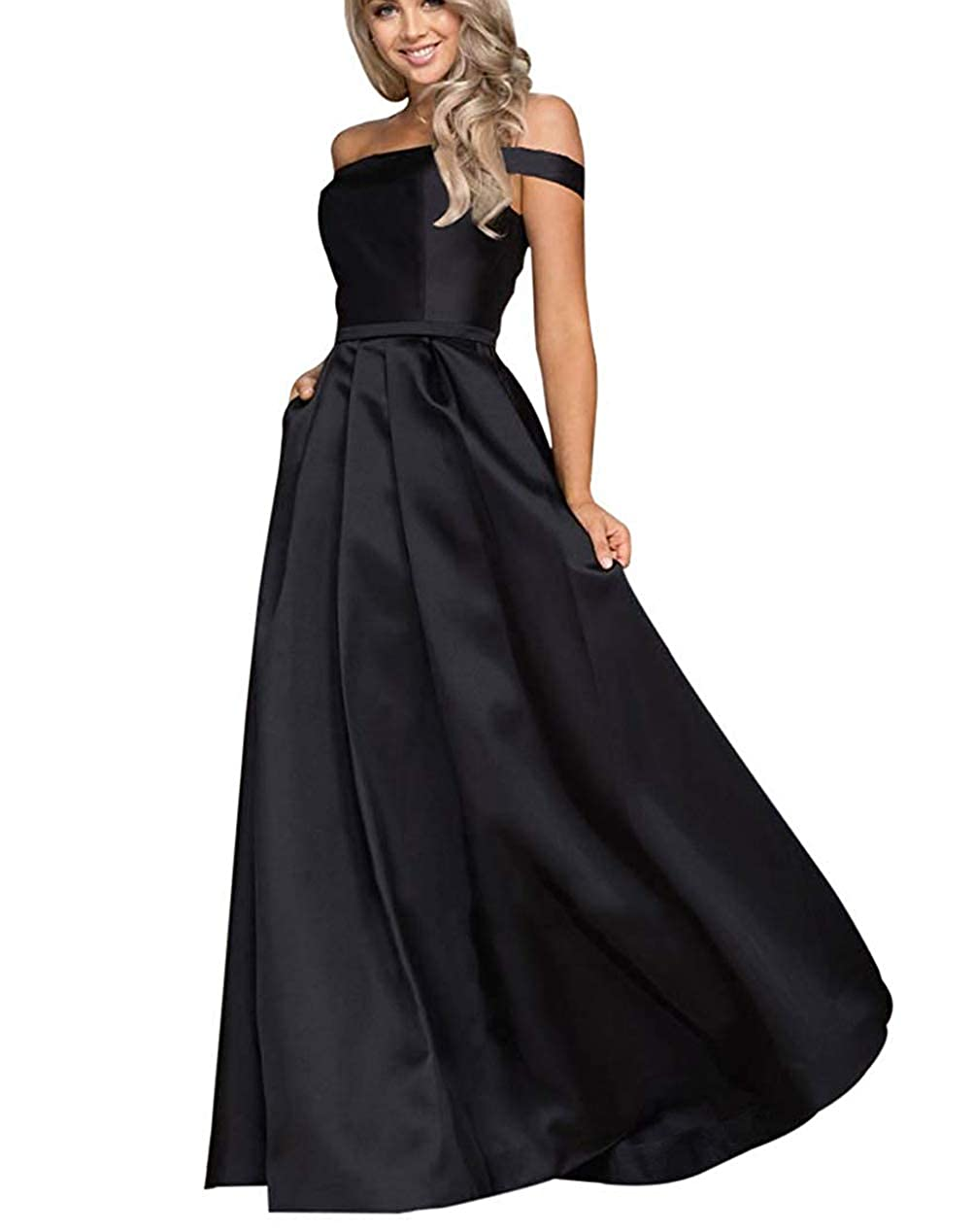 Black Tmaoomo Aline Off The Shoulder Satin Prom Party Dresses for Women Formal Evening Gowns