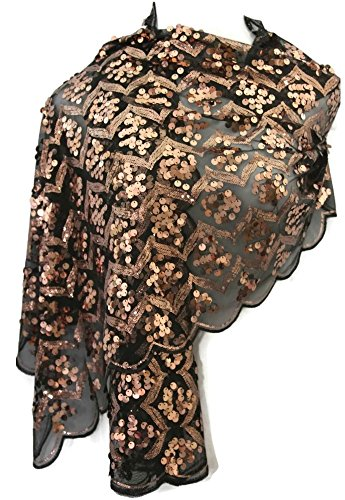 Joan Rivers Lavish Luxury Sequin Scarf (One Size, Black With Rose (Joan Rivers Rose)